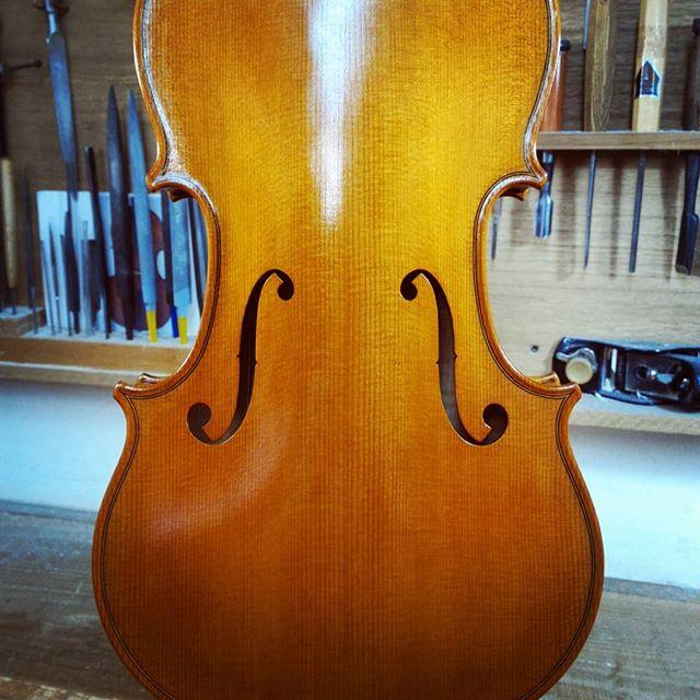 Varnishing 一回目。昨日釣れたてのツムブリを貰って大喜びで柳刃を研いでいたら砥石と刃に指先を挟みcut。天気は良いのに若干意気消沈気味である。#ヴァイオリン #ヴィオラ #チェロ #コントラバス #沖縄 #那覇 #楽器 #violin #viola #cello #doublebass #クラシック #弦楽器 #弦楽四重奏 #atelierpici #那覇弦楽器